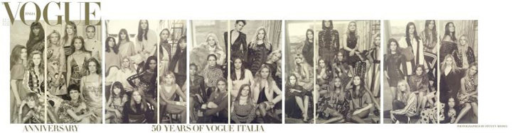 Vogue Italia rounds up 50 models for anniversary cover