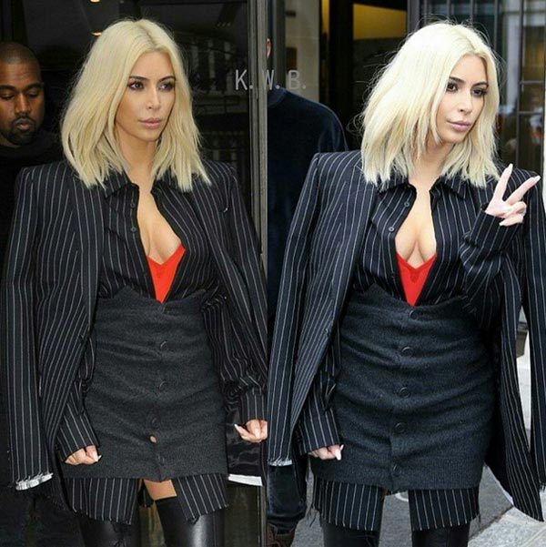 Kim Kardashian Wears Beetlejuice Outfit at Paris Fashion Week