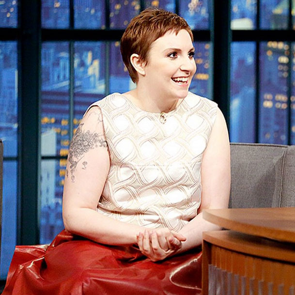 Late Night Unveils Lena Dunham's Pixie Cut