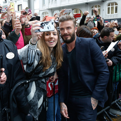 David Beckham Poses for Selfies with Fans