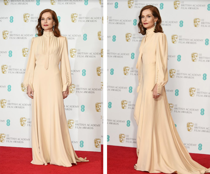 Isabelle Huppert wears Chloé to the 2017 BAFTAs
