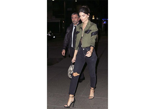 Emily Ratajkowski wearing black noir NUDIST sandals while spotted out in Milan, Italy.