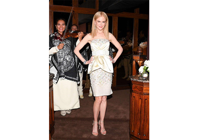 Nicole Kidman in pearl nappa NUDISTSONG sandals at Charles Finch and Chanel Pre-Oscar Awards Dinner in Los Angeles, California.
