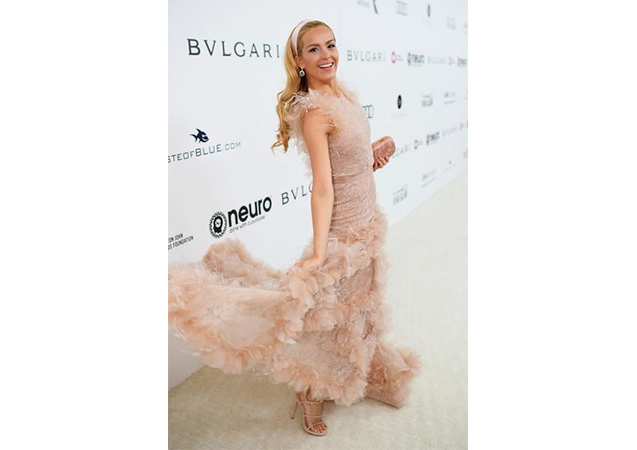 Petra Nemcova in bisque suede COURTESAN sandals at the 25th Annual Elton John AIDS Foundation's Academy Awards Viewing Party.