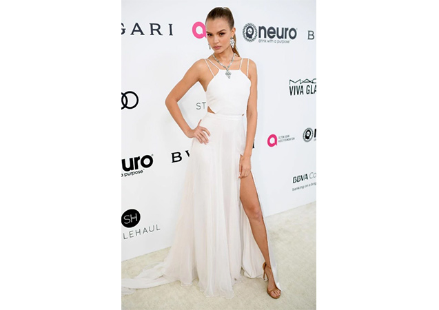 Josephine Skriver in pan goosebump nappa NUDIST sandals at the 25th Annual Elton John AIDS Foundation