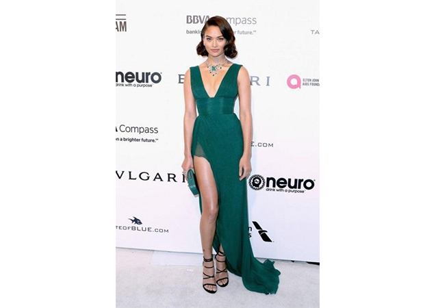Shanina Shaik in black suede MYEX sandals at the the 25th Annual Elton John AIDS Foundation's Academy Awards Viewing Party.