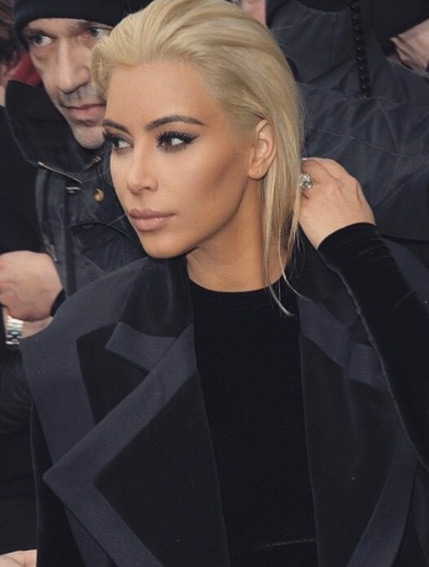 Kim Kardashian Blonde and Braless