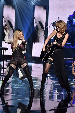 Madonna and Taylor Swift Share a Kiss, Wear Matching Lingerie