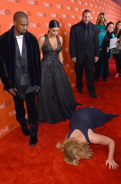 Amy Schumer Collapses in Front of Kanye West and Kim Kardashian See the Pics!