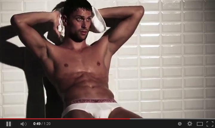 Luca Dotto gets undressed again for Emporio Armani
