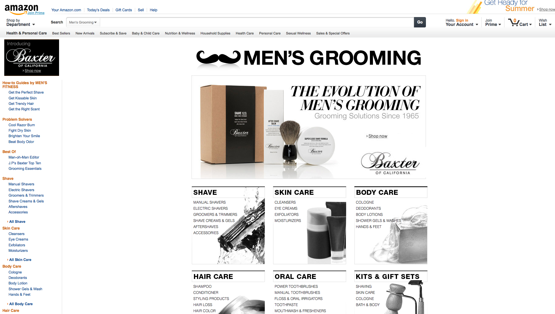 Amazon launches men's grooming store