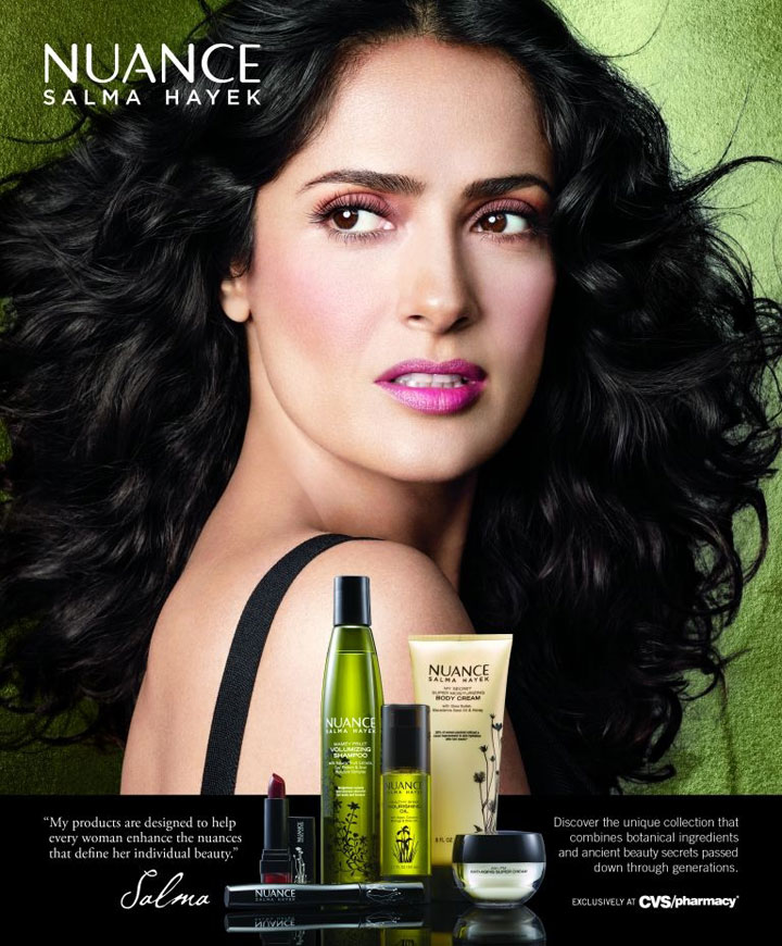 Salma Hayek Pinault poses for her beauty brand Nuance