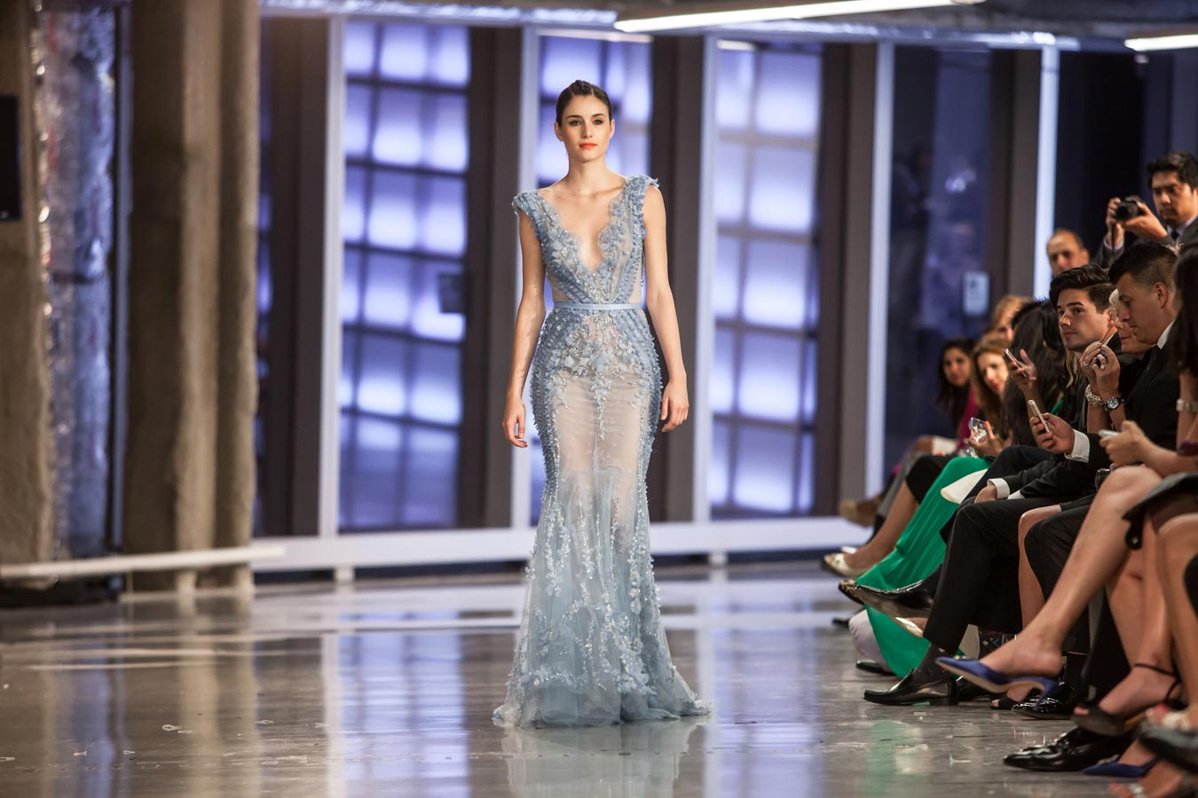 A model walks on a Ziad Nakad dress